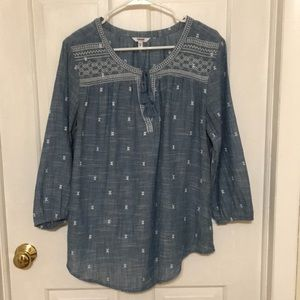 Blue & White 3/4 Sleeve Embroidered Tunic